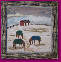 Horses Feeding Scene in Quilted Fabric Art Image