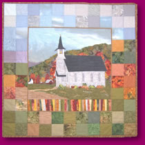 Country Church in Quilted Artwork