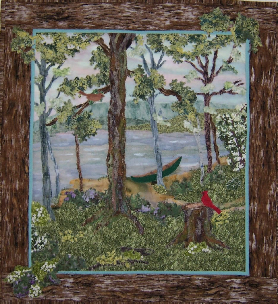 Landscapes hanging fabric art fabric quilt art fabric art for Creating a landscape